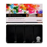 Набор акварельных красок GALLERY в металлическом пенале, 48 цветов, полу кюветы, MUNGYO