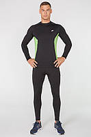 Мужской спортивный костюм для бега Rough Radical Intensive(original) компрессионная спортивная одежда,тайтсы+рашгард M, Черный