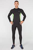 Мужской спортивный костюм для бега Rough Radical Intensive(original) компрессионная спортивная одежда,тайтсы+рашгард XL, Черный