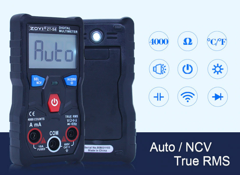 ZOYI ZT-S4 Автоматический Защищённый мультиметр с термопарой ZOTEK ( ANENG V04A )