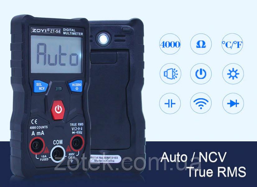 ZOYI ZT-S4 Автоматичний Захищений мультиметр з термопарою ZOTEK ( ANENG V04A )