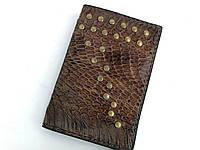 Кожаный картхолдер/визитница с кожи кобры ручной работы черного цвета TsarArt с ручным швом и мягкой кожи