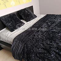 Покрывало травка Paiger 220*240 см. | Пушистое покрывало с длинным ворсом чёрного цвета |Для спальни, гостиной