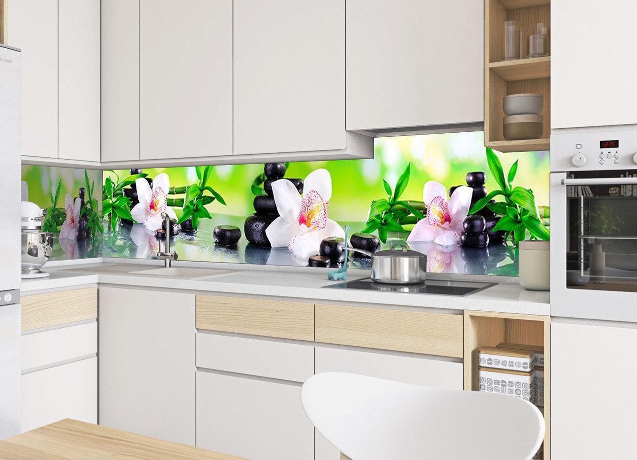Кухонный фартук Орхидея и бамбук (камни, наклейка на стеновую панель кухни, цветы)600*2500 мм