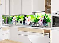 Кухонный фартук Орхидея и бамбук (камни, наклейка на стеновую панель кухни, цветы)