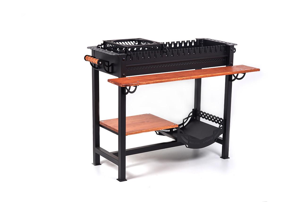 Мангал-барбекю для дачи с деревянным столиком и подставкой под казан в черном цвете SmokeHouse