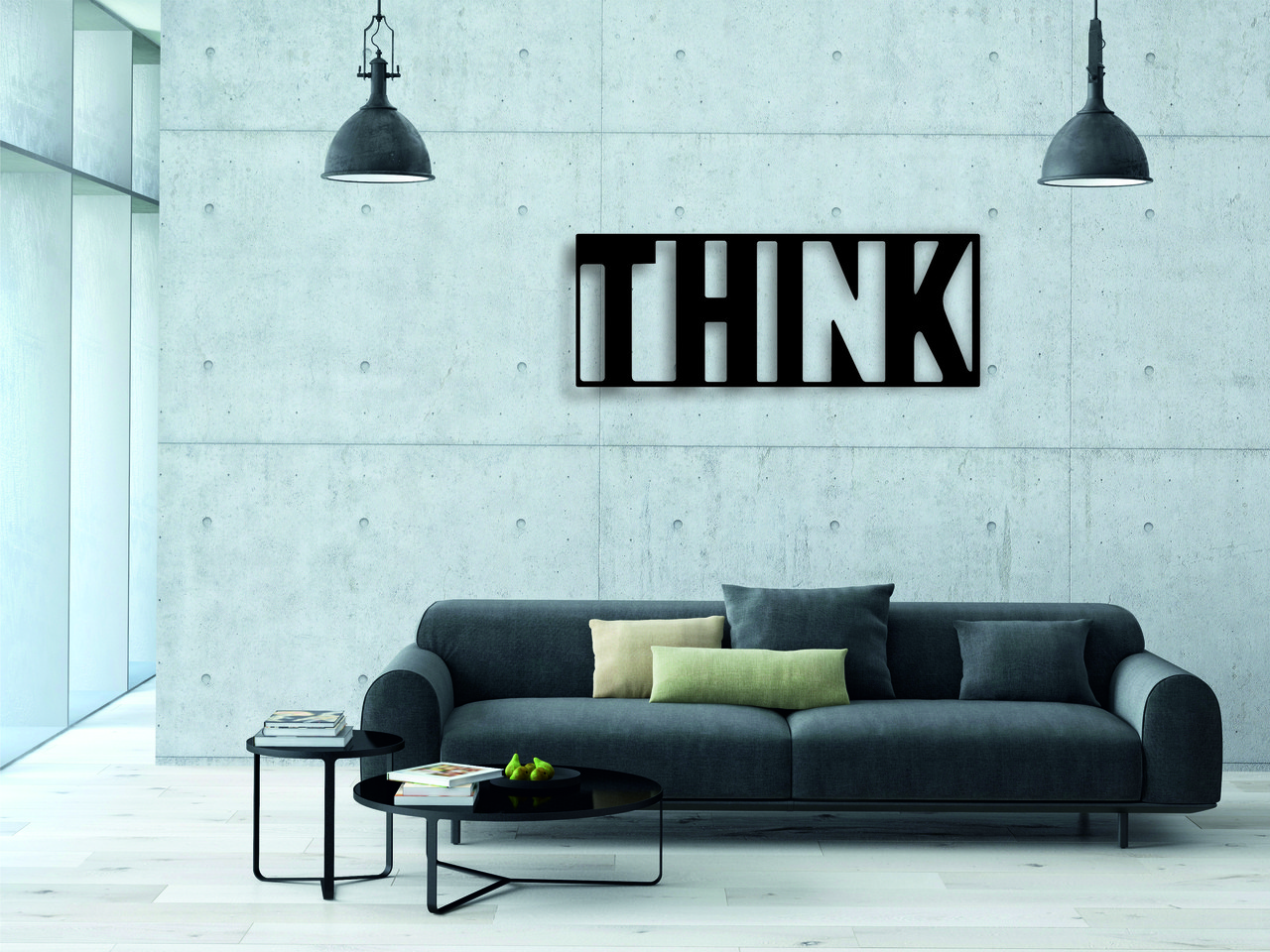 Деревянный декор на стену WHICH.BLACK THINK (75x28 см)