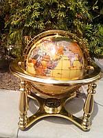 Настольный глобус мира из оникса,на латунной подставке,с компасом,Тайвань.