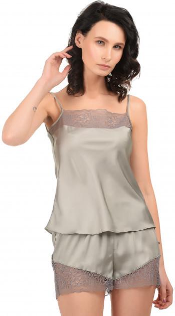 Шелковая серая пижама Martelle Lingerie (майка с шортами)
