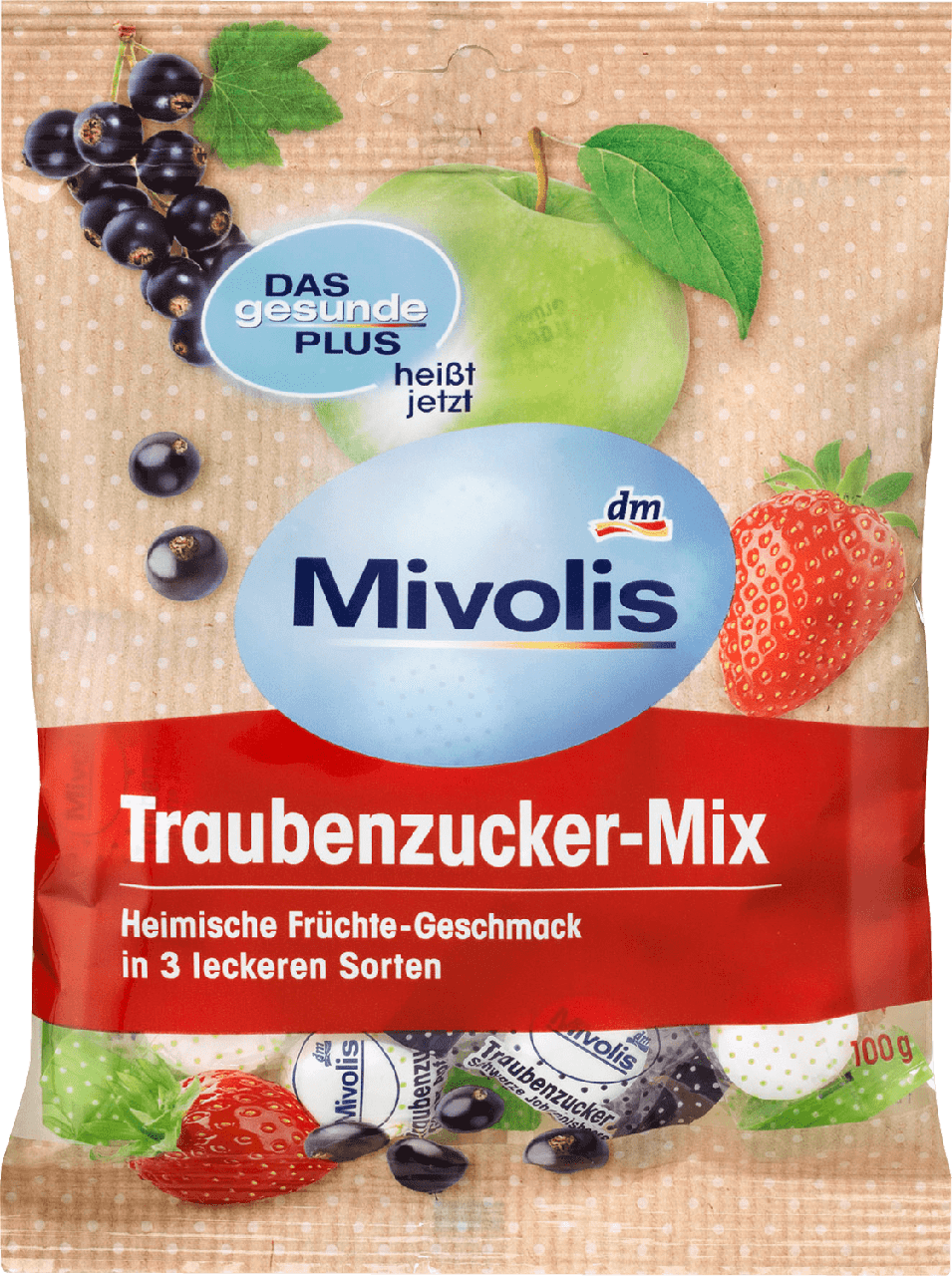 Декстрозные сладости без сахара Mivolis Traubenzucker-Mix, 100 гр.(37шт)