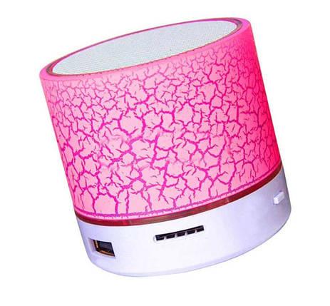 Колонка mini портативна GETIHU світлодіодна з TF, USB FM Рожевий, фото 2