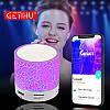 Колонка mini портативна GETIHU світлодіодна з TF, USB FM Рожевий, фото 5