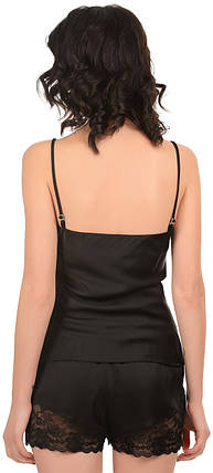 Шелковая пижама чёрная (майка с шортами) Martelle Lingerie, фото 2