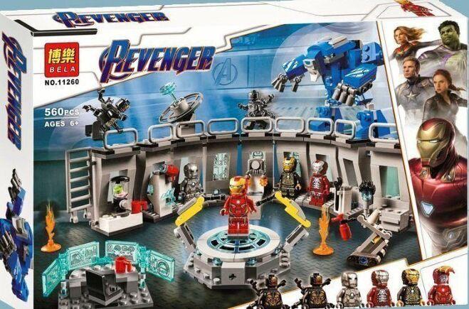 Конструктор Bela 11260 Лаборатория Железного человека. Мстители (аналог LEGO Super Heroes 76125)