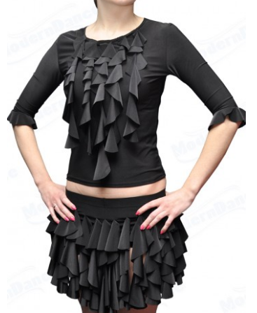 """Блуза для спортивно - бальных танцев  """" Черный"""" 30-40-50см"""