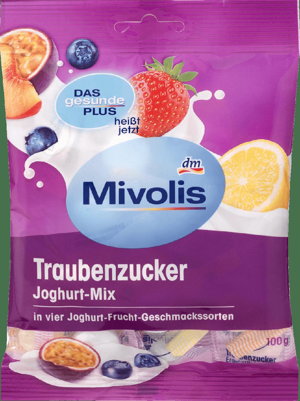 Декстрозные сладости без сахара Mivolis Traubenzucker Joghurt-Mix, 100 гр.(37шт)