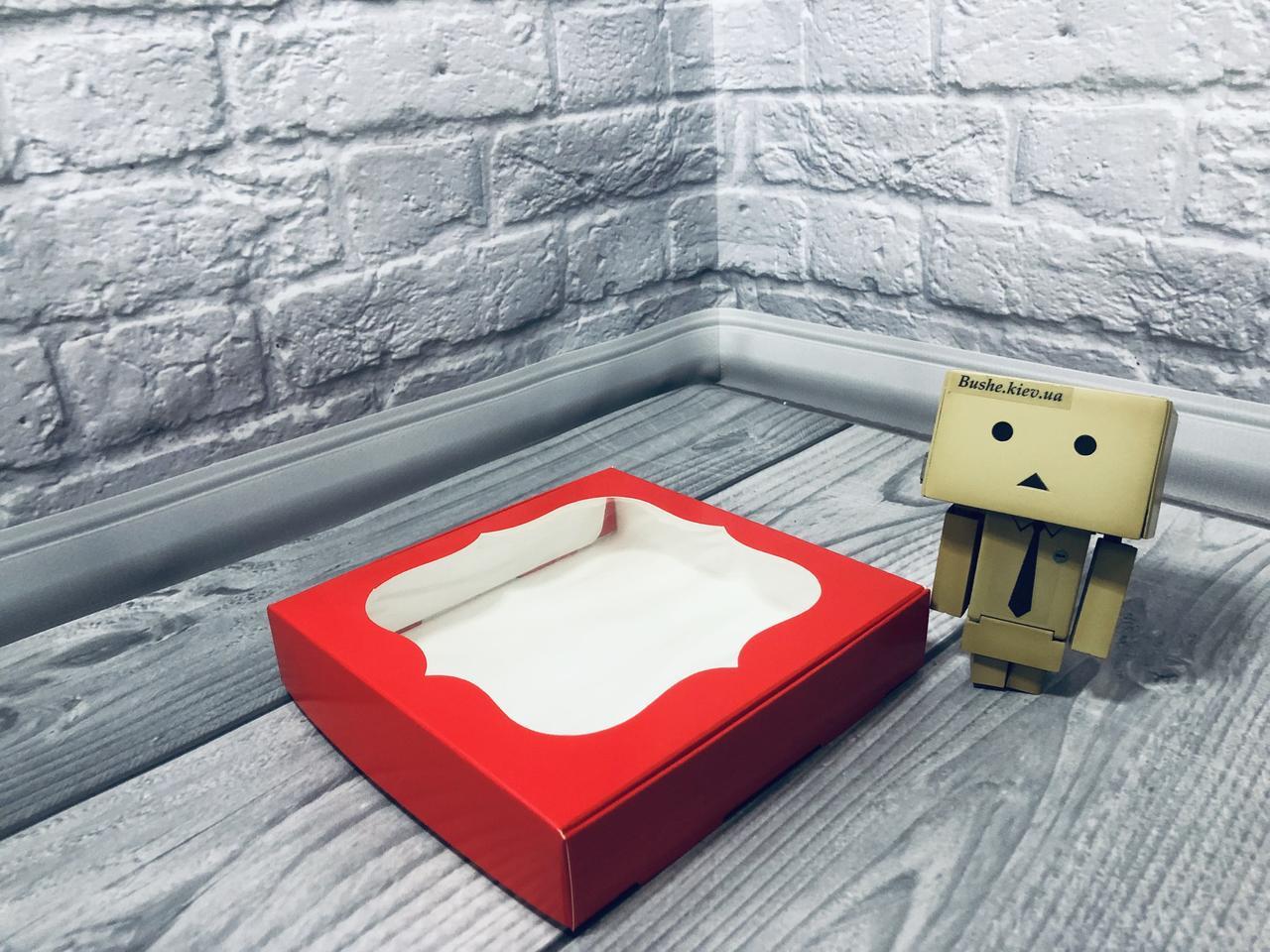 *10 шт* / Коробка для пряников / 150х150х30 мм / печать-Красн / окно-обычн