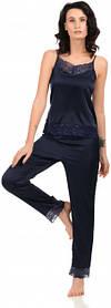 Шелковая пижама Martelle Lingerie (майка + штаны) темно-синяя