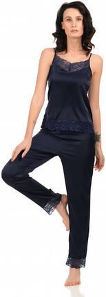 Шелковая пижама Martelle Lingerie (майка + штаны) темно-синяя, фото 2