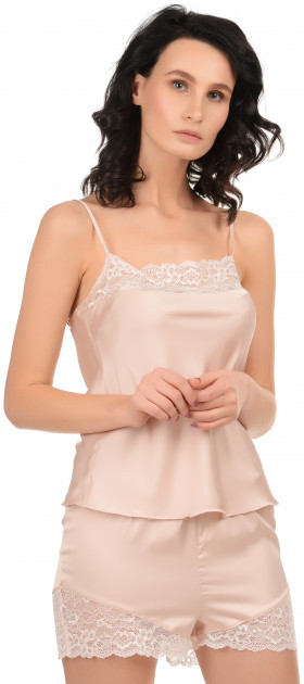 Шелковая кружевная пижама Martelle Lingerie (розовая пудра)