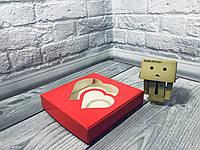 *10 шт* / Коробка для пряников / 150х150х30 мм / печать-Красн / окно-2 Сердц / лк, фото 1