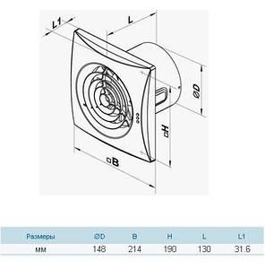Бытовой вентилятор Вентс 150 Квайт В (оборудован выключателем), фото 2