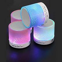 Колонка mini портативна GETIHU світлодіодна з TF, USB FM Блакитний, фото 3