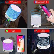Колонка mini портативна GETIHU світлодіодна з TF, USB FM Блакитний, фото 2