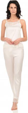 Шелковая пижама Martelle Lingerie (майка + штаны), молочная, фото 2