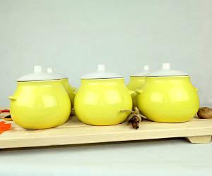 Горшочки для запекания в духовке 6 шт из керамики лимонные 600 мл