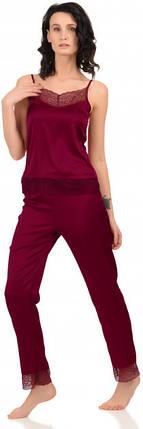 Шелковая пижама Martelle Lingerie (майка + штаны), вишневая, фото 2