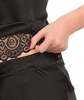 Шелковая пижама Martelle Lingerie (майка + штаны), черная, фото 2