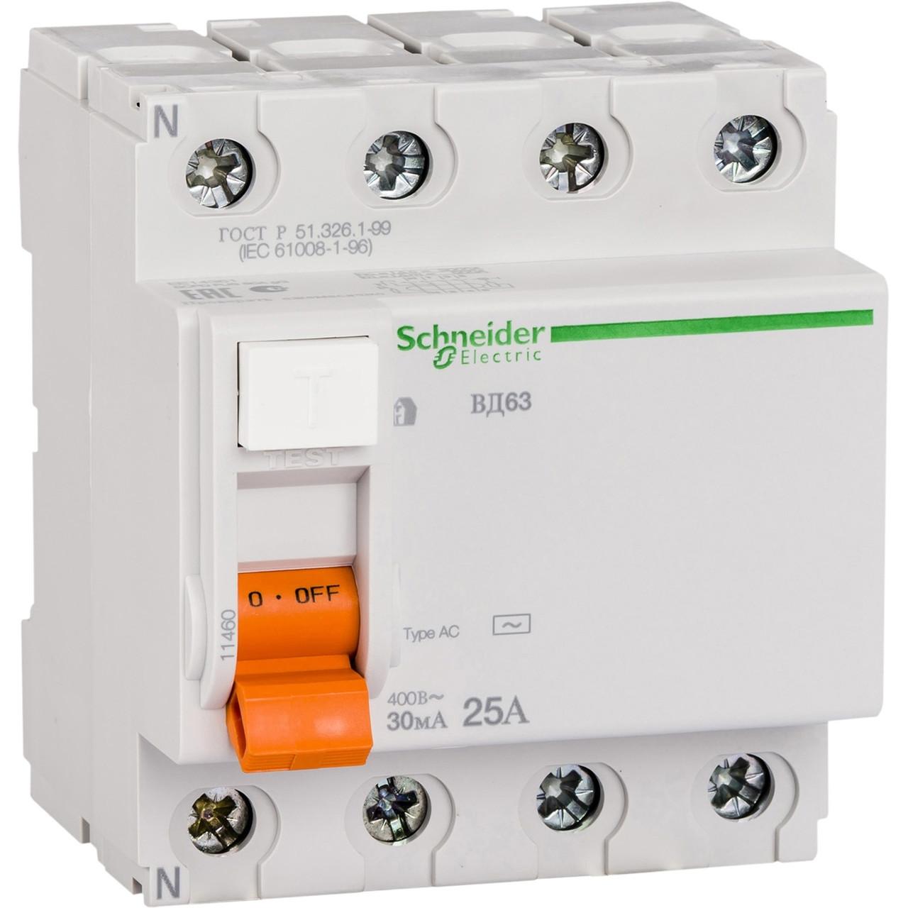 """Диференціальний вимикач навантаження 11460 """"Домовик"""" Schneider ВД 63 4П 25A 30МА"""