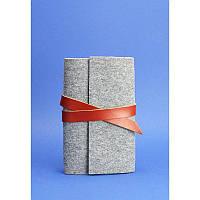 Кожаный блокнот (Софт-бук) 1.0 серный фетр + коричневая кожа, коньяк