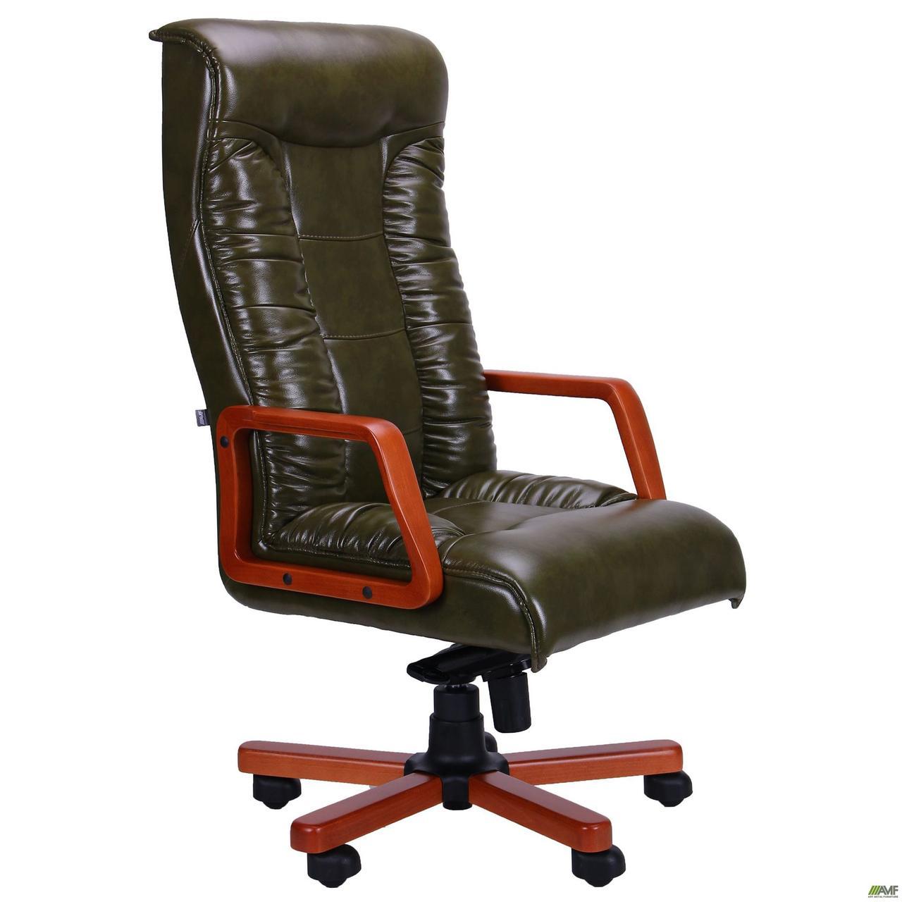 Кресло Кинг Экстра MB вишня Кожа Люкс комбинированная Крем-брюле