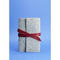 Кожаный блокнот (Софт-бук) 1.0 серый фетр + бордовая кожа, виноград