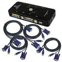 4-портовый KVM свич переключатель USB + 4 кабеля (z01120)