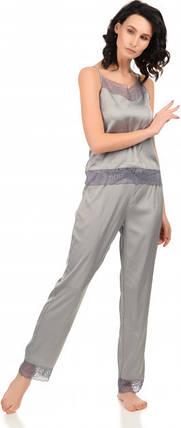 Шелковая пижама Martelle Lingerie (майка + штаны), серая, фото 2