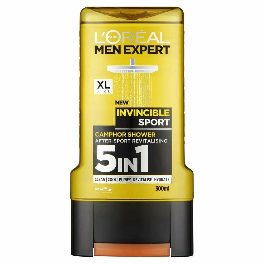 Гель для душа L'ORÉAL Men Expert Invincible SPORT 5in1, 300 мл.