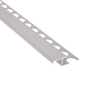 Алюминиевый лестничный профиль соединительный рифленый анодированный 39мм х 2.7м серебро