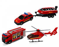 Набор Машинок Пожарная команда (2 машинки, вертолет, лодка)