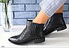 Ботинки женские кожаные черная рептилия