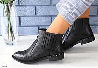 Ботинки женские кожаные черная рептилия, фото 1