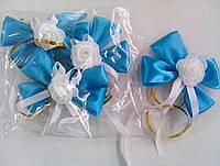 Бутоньерки на ручки свадебного авто (голубые) 4 шт.