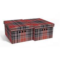 Набор картонных ящиков для хранения А4, шотландка 2шт