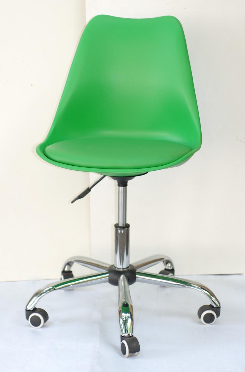 Кресло офисное пластик на колесах Milan Office зеленый 44 (Милан), сиденье экокожа
