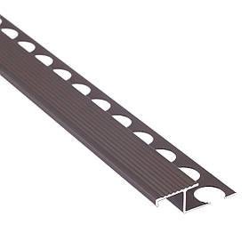 Алюминиевый лестничный профиль соединительный рифленый анодированный 39мм х 2.7м бронза