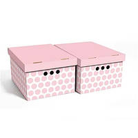Набор картонных ящиков для хранения А4, розовый горох 2шт