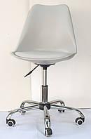 Кресло офисное пластик на колесах Milan Office серый 10 (Милан), сиденье экокожа