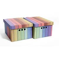 Набор картонных ящиков для хранения А4, радуга  2шт